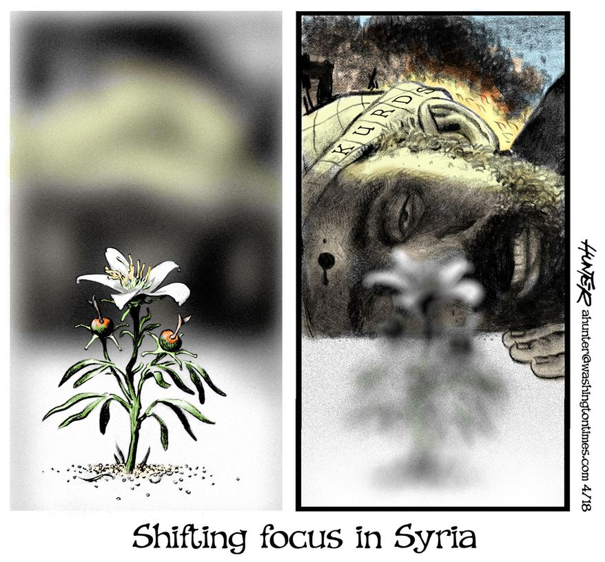 Shifting focus in Syria (Illustration by Alexander Hunter for The Washington Times)