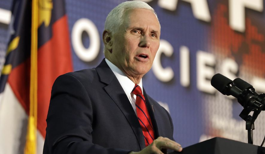 Vice President Mike Pence speaks at event on tax policy in Charlotte, N.C., Friday, April 20, 2018. (AP Photo/Chuck Burton)