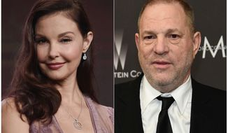 This combination photo shows Ashley Judd during the 2017 Television Critics Association Summer Press Tour in Beverly Hills, Calif., on July 25, 2017, left, and Harvey Weinstein at The Weinstein Company and Netflix Golden Globes afterparty in Beverly Hills, Calif., on Jan. 8, 2017.  Judd has sued Harvey Weinstein, saying he hurt her acting career in retaliation for her rejecting his sexual advances. In the lawsuit filed Monday, April 30, 2018, in Los Angeles County Superior Court, Judd accuses Weinstein of defamation, sexual harassment and violation of Californias unfair competition law. (Photo by Chris Pizzello/Invision/AP)