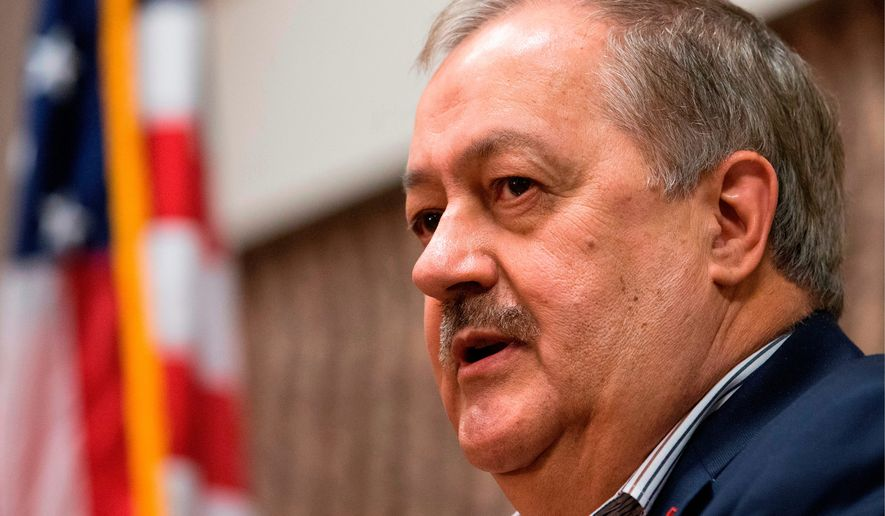 In this Jan. 18, 2018, file photo, former Massey CEO and West Virginia Republican Senatorial candidate, Don Blankenship, speaks during a town hall to kick off his campaign in Logan, W.Va. (AP Photo/Steve Helber, File)