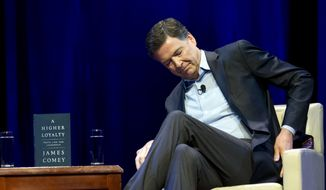 "Former FBI director James Comey speaks during a stop on his book tour for ""A Higher Loyalty"" Monday, April 30, 2018, in Washington. ( AP Photo/Jose Luis Magana)"