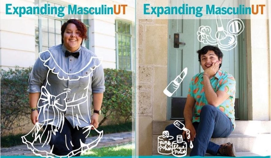 "A wellness campaign spearheaded by University of Texas at Austin's Counseling and Mental Health Center aims to ""expand"" the definition of masculinity to include wearing dresses and makeup. (Image: University of Texas at Austin's Counseling and Mental Health Center via The Blaze)"