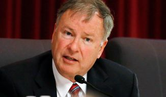 FILE - In this May 20, 2016, file photo, U.S. Rep. Doug Lamborn, R-Colo., speaks in the state Capitol in Denver. Lamborn filed a federal lawsuit on Wednesday, April 25, 2018, in a last-ditch bid to get his name back on the GOP primary ballot after the Colorado Supreme Court ruled he must be kicked off it because his campaign did not gather petitions correctly. (AP Photo/David Zalubowski, File)