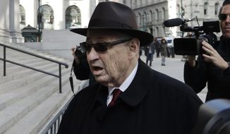 Former New York Assembly Speaker Sheldon Silver arrives at federal court, Monday, April 30, 2018, in New York. The former speaker returned to court Monday to listen as prosecutors accuse him for a second time of collecting $4 million in illegal kickbacks from a cancer researcher and real estate developers. (AP Photo/Mark Lennihan)