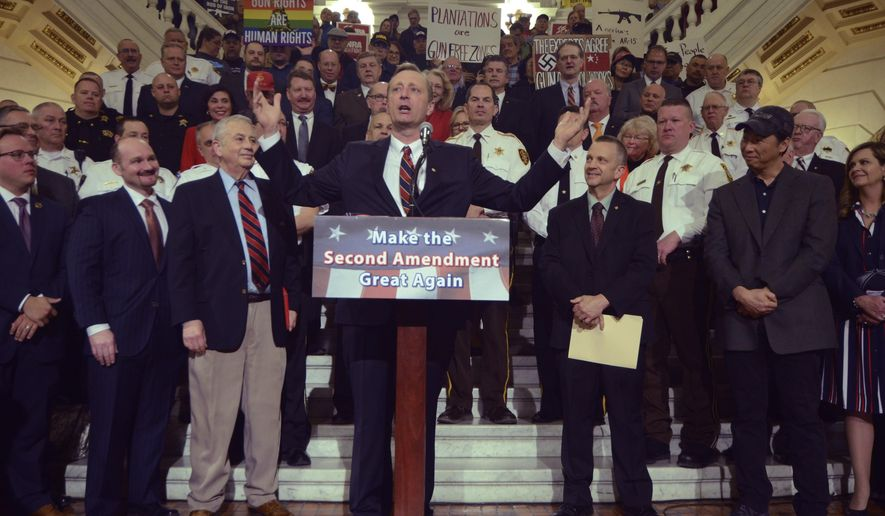 Pennsylvania state Rep. Jeff Pyle, R-Armstrong, speaks at an annual gun rights rally in the state Capitol Rotunda on Monday, April 30, 2018 in Harrisburg, Pa. A raucous rally drew hundreds of gun rights supporters to the Capitol on Monday, filling the Rotunda to the point where security had to turn people away. (AP Photo/Marc Levy)