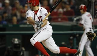 Washington Nationals' Tanner Roark, left, hits an RBI-single off Pittsburgh Pirates starting pitcher Jameson Taillon during the fourth inning of a baseball game at Nationals Park, Monday, April 30, 2018, in Washington. (AP Photo/Pablo Martinez Monsivais)