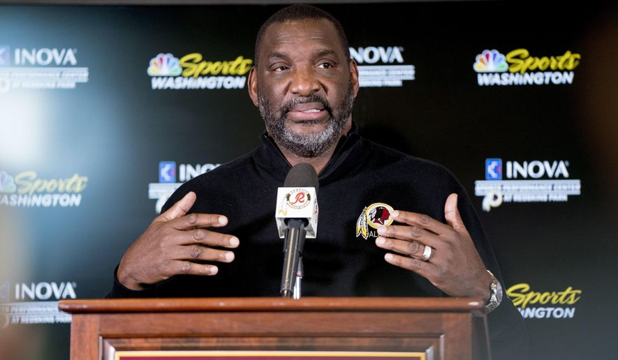 Washington Redskins Senior Vice President of Player Personnel Doug Williams speaks following the 2018 NFL Draft at Redskins Park, Monday, April 30, 2018, in Ashburn, Va. (AP Photo/Andrew Harnik) ** FILE **