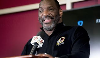Washington Redskins Senior Vice President of Player Personnel Doug Williams speaks following the 2018 NFL Draft at Redskins Park, Monday, April 30, 2018, in Ashburn, Va. (AP Photo/Andrew Harnik)