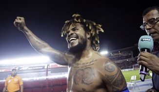 FILE - In this Tuesday, Oct. 10, 2017 filer, Panama's Roman Torres celebrates his goal against Costa Rica and his team's 2-1 victory, qualifying his team for the 2018 Russia World Cup in Panama City. It's the first time Panama classifies for a World Cup tournament. (AP Photo/Arnulfo Franco, File)