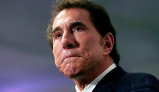 FILE - This March 15, 2016, file photo shows casino mogul Steve Wynn at a news conference in Medford, Mass. Wynn has sued a former Wynn Las Vegas salon director over comments about sexual conduct. (AP Photo/Charles Krupa, File)