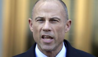 Michael Avenatti, Stormy Daniels' attorney, talks to reporters outside of federal court in New York, Thursday, April 26, 2018. (AP Photo/Seth Wenig)