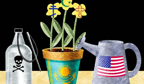 Illustration on the preservation of good relations with Kazakhstan by Alexander Hunter/The Washington Times