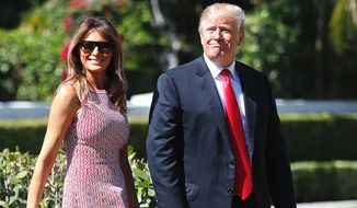 A new poll finds that Americans accept that President Trump, seen here with first lady Melania Trump, runs an unconventional administration. (AP Photo/Pablo Martinez Monsivais) (Associated Press)