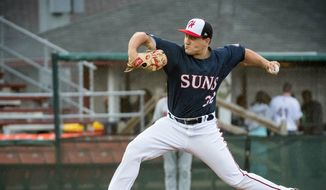 Nationals pitching prospect Nick Raquet, a product of William & Mary, was 2-2 with a 2.28 ERA in five starts with the Hagerstown Suns this season. (John Slick/Hagerstown Suns)