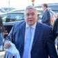 Patrick Morrisey heading into the Fox News GOP debate on Tuesday, May 1, 2018, in Morgantown, W. Va. (William Wotring /The Dominion-Post via AP)