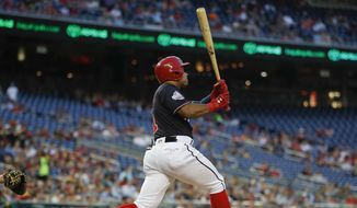Washington Nationals' Wilmer Difo watches his solo home run off Pittsburgh Pirates starting pitcher Chad Kuhl, during the third inning of a baseball game at Nationals Park, Tuesday, May 1, 2018, in Washington. (AP Photo/Pablo Martinez Monsivais)