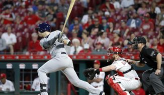 Milwaukee Brewers' Ryan Braun hits a two-run double off Cincinnati Reds starting pitcher Homer Bailey during the fifth inning of a baseball game Tuesday, May 1, 2018, in Cincinnati. (AP Photo/John Minchillo)