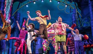 """This image released by Boneau/Bryan-Brown shows a performance of """"SpongeBob SquarePants,"""" in New York.  The Tony Awards race is dominated by big established brands, including Disney's """"Frozen,"""" J.K. Rowling's """"Harry Potter"""" franchise, Tina Fey's """"Mean Girls"""" and Nickelodeon's """"SpongeBob SquarePants."""" The nominations for the 72nd Tony Awards will be announced on Tuesday, May 1. (Joan Marcus/Boneau/Bryan-Brown via AP)"""