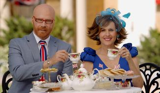 "This image released by HBO shows Will Ferrell as Cord Hosenbeck, left, and Molly Shannon as Tish Cattigan who will host the Royal Wedding in the HBO special ""The Royal Wedding Live with Cord and Tish!,"" premiering on Saturday, May 19. (HBO via AP)"