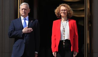 Secretary of Defense Jim Mattis puts his hand over his heart as the Star-Spangled Banner is played during a ceremony welcoming Macedonian Defense Minister Radmila Sekerinska at the Pentagon, Tuesday, May 1, 2018. (AP Photo/Manuel Balce Ceneta)