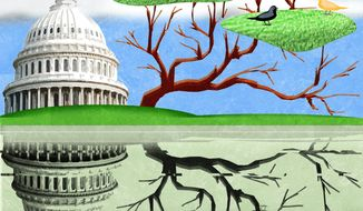 Illustration on springtime in Washington by Alexander Hunter/The Washington Times