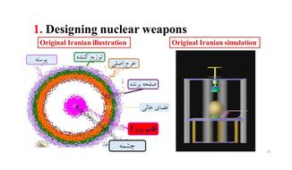 An Israeli government PowerPoint sheds light on the Iranian secret arms program. As part of the plan, they worked on an underground testing program, a simulation project, a warhead project and a centrifuge program. (Israeli Government)