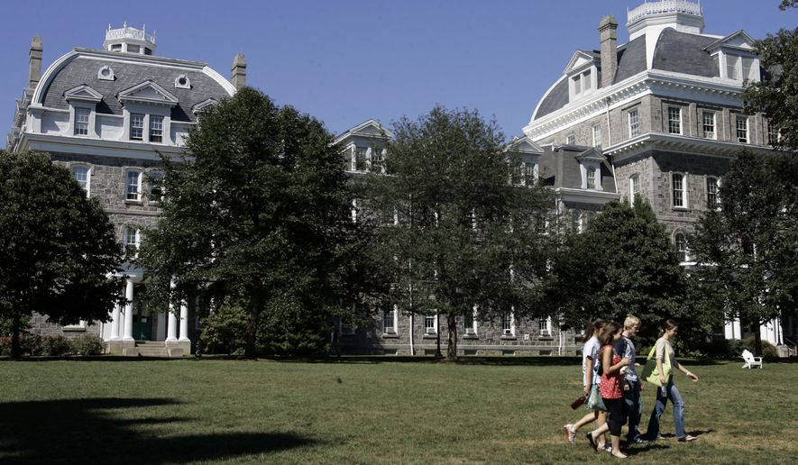 Students walk outside Parrish Hall at Swarthmore College in Swarthmore, Pa., on Sept. 17, 2007. (Associated Press) **FILE**