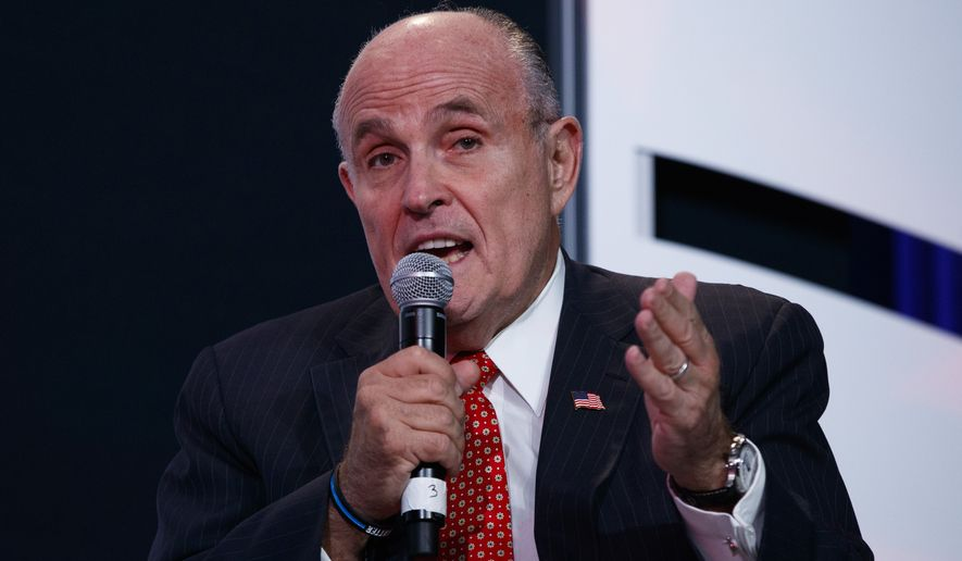 Former New York Mayor Rudy Giuliani speaks before the arrival of Republican presidential candidate Donald Trump to the Value Voters Summit, Friday, Sept. 9, 2016, in Washington. (AP Photo/Evan Vucci)