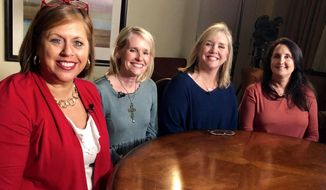 Auburn University alums and friends (from left to right) Ashley McCrary, Allison Allred, Juleigh Green and Lori Lee all receiving the same rare eye cancer diagnosis. (Caroline McCrary)