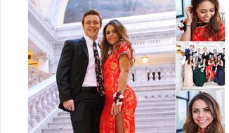 """Keziah Daum, 18, poses for a prom picture in a traditional Chinese qipao, or cheongsam. U.S. critics attacked her on social media for """"cultural appropriation,"""" but the outfit received praise from mainland China's Weibo users. (Image: Twitter, Keziah Daum screenshot) ** FILE **"""