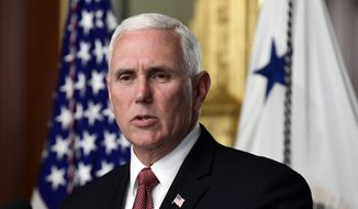 Vice President Mike Pence speaks during an event to swear in Carlos Trujillo as the U.S. Ambassador to the Organization of American States in the Vice President's Ceremonial Office in the Eisenhower Executive Office Building on the White House complex in Washington, Wednesday, May 2, 2018. (AP Photo/Susan Walsh) ** FILE **