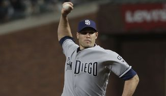 San Diego Padres pitcher Craig Stammen throws against the San Francisco Giants during a baseball game in San Francisco, Tuesday, May 1, 2018. (AP Photo/Jeff Chiu) **FILE**