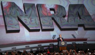 In this April 28, 2017, file photo, President Donald Trump speaks during the National Rifle Association-ILA Leadership Forum, in Atlanta. As NRA prepares to gather for its 147th annual meeting in Dallas, the political landscape has changed considerably in the past year. Even with a GOP-led Congress and a gun-friendly president in the White House, its agenda has stalled. And a new generation seems to have the upper hand in pushing for gun-control after several deadly mass shootings. (AP Photo/Mike Stewart File)