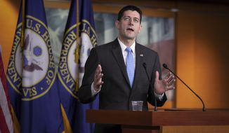FILE--In this April 12, 2018, file photo, Speaker of the House Paul Ryan, R-Wis., holds his weekly news conference at the Capitol in Washington. Ryan said in Beverly Hills, Calif., Wednesday, May 2, 2018, that a Democratic takeover of the House or Senate in November would lead to a stalemate in Congress while opening the way for partisan investigations of the Trump White House. (AP Photo/J. Scott Applewhite, file)
