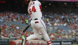 Washington Nationals' Bryce Harper hits a solo home run off Pittsburgh Pirates starting pitcher Ivan Nova during the first inning of a baseball game at Nationals Park, Wednesday, May 2, 2018, in Washington. (AP Photo/Pablo Martinez Monsivais)