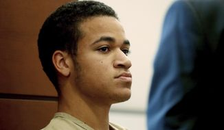 FILE - In this Thursday, March 29, 2018, file photo, Zachary Cruz, brother of Nikolas Cruz who's accused of killing 17 students and staff members at the school Feb. 14, appears in court in Fort Lauderdale, Fla. Zachary Cruz has been arrested for violating the terms of his probation, and was booked into the Palm Beach County jail, Tuesday, May 1, 2018. (Susan Stocker/South Florida Sun-Sentinel via AP, Pool, File)