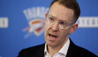 Oklahoma City Thunder NBA basketball team general manger Sam Presti answers a question during a news conference in Oklahoma City, Wednesday, May 2, 2018. (AP Photo/Sue Ogrocki)
