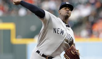 New York Yankees starting pitcher Luis Severino throws to a Houston Astros batter during the first inning of a baseball game Wednesday, May 2, 2018, in Houston. (AP Photo/Michael Wyke)