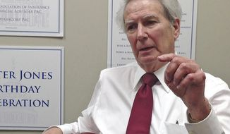 In a March 28, 2018 photo, U.S. Rep. Walter Jones, R-N.C., speaks in an interview at his campaign office in Greenville, North Carolina. Jones, a 12-term congressman whose father previously represented the region on Capitol Hill, said his 2018 re-election bid will be his last. He is facing two Republican challengers in the May GOP primary who have complained Jones' voting record has thwarted President Donald Trump's agenda on taxes and health care. (AP Photo/Gary Robertson)