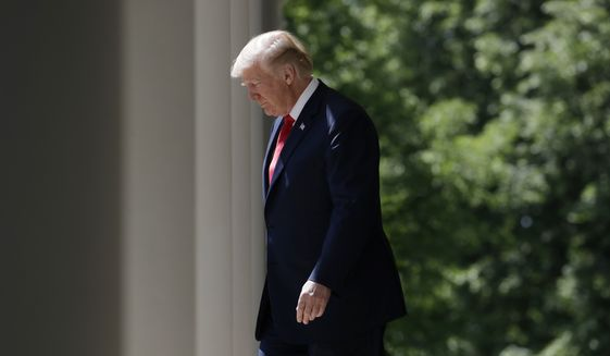 "President Donald Trump walks out to speak during a ""National Day of Prayer"" event in the Rose Garden of the White House, Thursday, May 3, 2018, in Washington. (AP Photo/Evan Vucci)"