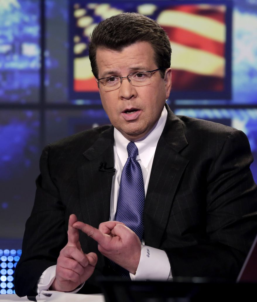 Neil Cavuto, of the Fox Business Network, appears during a segment his program, in New York,  Tuesday, March 19, 2013. (AP Photo/Richard Drew)