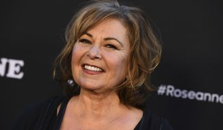 """Roseanne Barr arrives at the Los Angeles premiere of """"Roseanne"""" on Friday, March 23, 2018 in Burbank, Calif. (Photo by Jordan Strauss/Invision/AP)"""