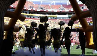 FILE - In this Aug. 24, 2013, file photo, Washington Redskins cheerleaders run out of a tunnel before an NFL preseason football game against the Buffalo Bills in Landover, Md. The Redskins say they're concerned by allegations made by cheerleaders in a New York Times article about a trip to Costa Rica for a photo shoot in 2013. Team president Bruce Allen said in a statement Thursday, May 3, 2018, that the organization is immediately looking into the situation. (AP Photo/Patrick Semansky, File) **FILE**
