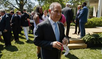 "Environmental Protection Agency administrator Scott Pruitt leaves a ""National Day of Prayer"" event in the Rose Garden of the White House, Thursday, May 3, 2018, in Washington. (AP Photo/Evan Vucci) ** FILE **"
