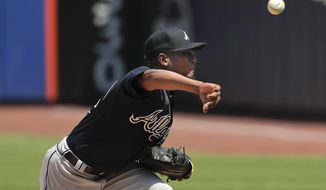 Atlanta Braves starting pitcher Julio Teheran delivers against the New York Mets during the first inning of a baseball game, Thursday, May 3, 2018, in New York. (AP Photo/Julie Jacobson)