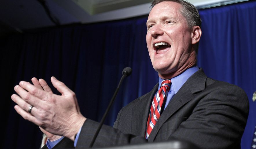 In this Nov. 2, 2010 file photo, Republican Steve Stivers speaks to supporters after winning the 15th Congressional District during the Ohio Republican Party's election night celebration in Columbus, Ohio. (AP Photo/Tony Dejak, File)