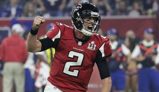 FILE - In this Feb. 5, 2017, file photo, Atlanta Falcons' Matt Ryan celebrates after a touchdown during the second half of the NFL Super Bowl 51 football game against the New England Patriots in Houston. Ryan has agreed to a five-year contract extension with the Falcons, the team announced Thursday, May 3, 2018,  without revealing terms. (AP Photo/Eric Gay, File) **FILE**