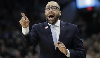 FILE - In this April 25, 2017, file photo, Memphis Grizzlies head coach David Fizdale directs his players during the first half of Game 5 in a first-round NBA basketball playoff series against the San Antonio Spurs in San Antonio. A person with knowledge of the details said Thursday, May 3, 2018, that the New York Knicks have agreed to hire Fizdale as their new coach. The former Grizzlies coach will replace Jeff Hornacek, who was fired last month after two seasons. (AP Photo/Eric Gay, File)