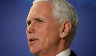 """Vice President Mike Pence speaks at the America First Policies, """"Tax Cuts to Put America First"""" event in Manchester, N.H., on March 22, 2018. (Associated Press) **FILE**"""