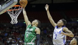 FILE - In this July 3, 2017, file photo, Boston Celtics forward Jayson Tatum (11) lays the ball in as Philadelphia 76ers guard Markelle Fultz (7) defends during an NBA summer league basketball game in Salt Lake City. The Celtics have a 1-0 Eastern Conference semifinal lead over Philadelphia. And Tatum, who was selected third by Boston 11 months ago, has been a revelation on a team battered by injuries. Fultz is not having nearly as much fun. He has been reduced to a spectator after a down regular season that saw him go through shooting issues and miss 68 games with a shoulder injury.  (AP Photo/Rick Bowmer, File)
